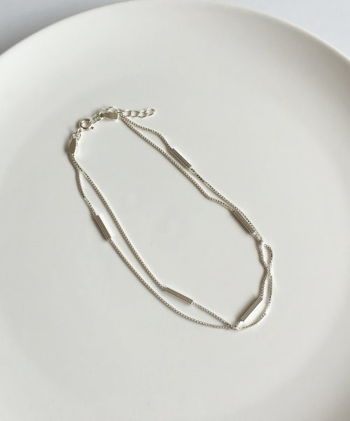 (silver925) two square anklet