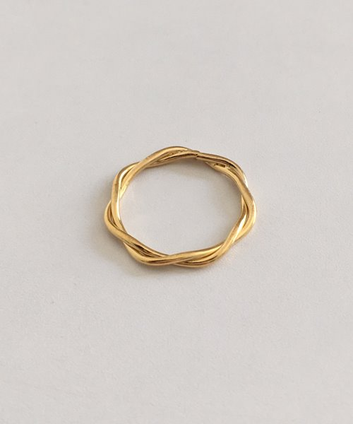 (silver925) gold twist ring