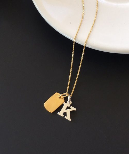 (silver925) initial tag necklace [A~Z]