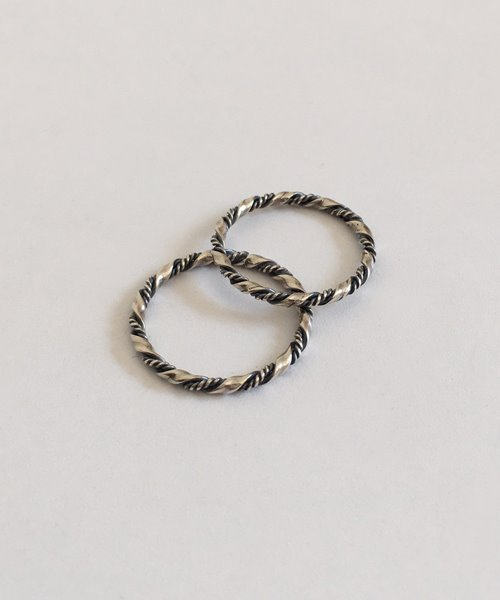 (silver925) twist row ring